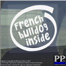 1 x French Bulldog Inside-Window,Car,Van,Sticker,Sign,Adhesive,Dog,Pet,On,Board